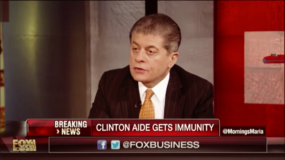 Judge Napolitano: Indictment Certain in Clinton Email Scandal Before November