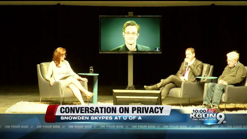 Whistleblower Edward Snowden speaks at the UA