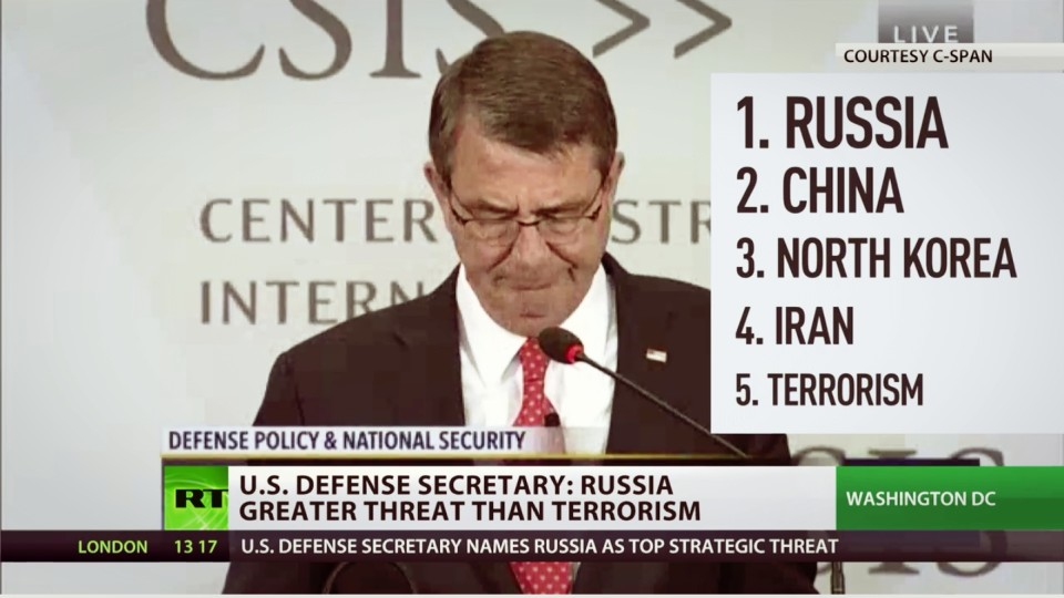 US Defense Secretary Carter Lists Russia and China as a Bigger Threat than Terrorism