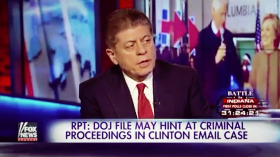 Judge Nap: DOJ Acknowledges Hillary Email Investigation Is a 'Law Enforcement Matter'